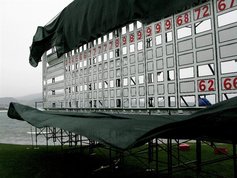 PEBBLE BEACH, CA - FEBRUARY 15:  Draping on the scoreboard at the 18th green blows in strong winds during a weather delay before the final round of the AT&T Pebble Beach National Pro-Am at Pebble Beach Golf Links on February 15, 2009 in Pebble Beach, California. (Photo by Stephen Dunn/Getty Images)