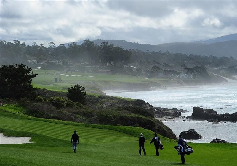 PEBBLE BEACH, CA - FEBRUARY 12:  A general view of the eighth hole during round two of the AT&T Pebble Beach National Pro-Am at Pebble Beach Golf Links on February 12, 2010 in Pebble Beach, California.  (Photo by Stuart Franklin/Getty Images)