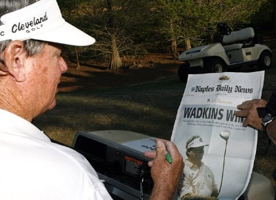 Bobby Wadkins autographs a copy of the Naples Daily News after winning the 2007 ACE Group Classic with a birdie putt on the 18th hole Sunday, February 25, 2007, at Quail West in Naples, Florida. Champions Tour - The 2007 ACE Group Classic - Final RoundPhoto by Kevin C.  Cox/WireImage.com