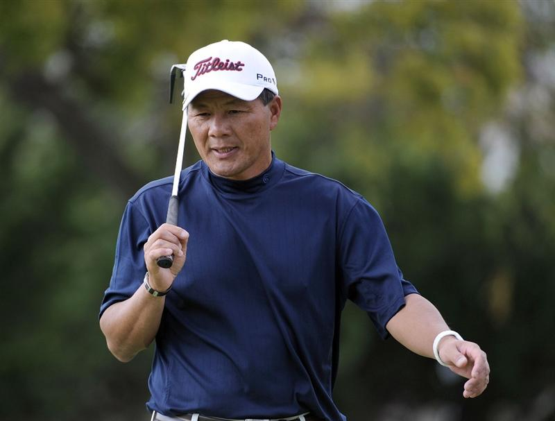 NEWPORT BEACH, CA - MARCH 07:  Chien Soon Lu of Taiwan reacts to a missed putt for birdie on the 13th hole during the third round of the Toshiba Classic at the Newport Beach Country Club on March 7, 2010 in Newport Beach, California.  (Photo by Harry How/Getty Images)
