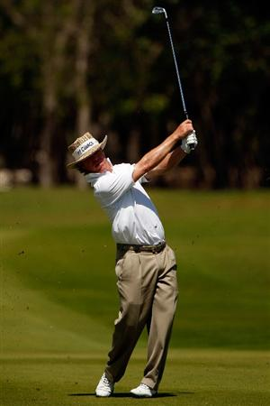 RIVIERA MAYA, MEXICO - FEBRUARY 28:  Briny Baird makes a shot from the fairway on the 3rd hole during the third round of the Mayakoba Golf Classic on February 28, 2009 at El Camaleon Golf Club in Riviera Maya, Mexico.  (Photo by Chris Graythen/Getty Images)