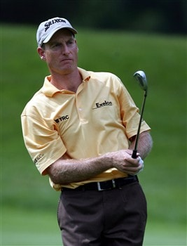 GRAND BLANC, MI - JUNE 26:  Jim Furyk watches his shot in the fairway on the eight hole during the first round at the Buick Open at Warwick Hills Country Club on June 26, 2008 in Grand Blanc, Michigan. (photo by Marc Serota/ Getty Images)