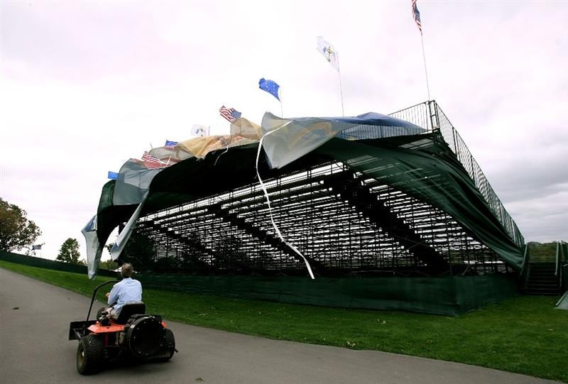 LOUISVILLE, KY - SEPTEMBER 14: A tarp blows on the grandstands in high winds on the course prior to the 37th Ryder Cup at Valhalla Golf Club on September 14, 2008 in Louisville, Kentucky. (Photo by Andy Lyons/Getty Images)