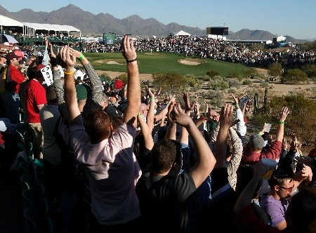 SCOTTSDALE, AZ - FEBRUARY 1:  The gallery at the 16th hole cheers during the second round of the FBR Open at TPC of Scottsdale February 1, 2008 in Scottsdale, Arizona. (Photo by Stephen Dunn/Getty Images)