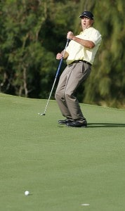 Chris Couch reacts to his missed putt at the 12th green during the third round of the Mercedes-Benz Championship held on the Plantation Course at Kapalua in Kapalua, Maui, Hawaii, on January 6, 2007. Photo by: Stan Badz/PGA TOURPhoto by: Stan Badz/PGA TOUR