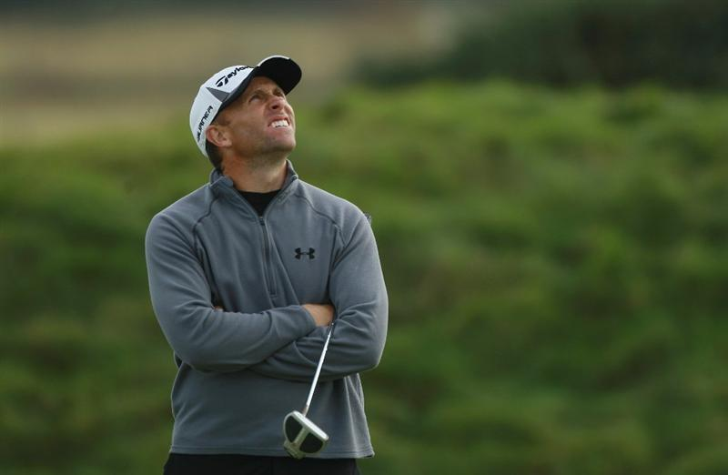 CARNOUSTIE, SCOTLAND - OCTOBER 07:  Tim Wilkinson of New Zealand looks to the skies during the first round of The Alfred Dunhill Links Championship at Carnoustie Golf Links on October 7, 2010 in Carnoustie, Scotland.  (Photo by Warren Little/Getty Images)
