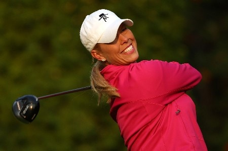 EDMONTON, AB - AUGUST 17:  Michelle McGann makes a tee shot on the 13th hole during the second round of the LPGA CN Canadian Women's Open 2007 on August 17, 2007 at the Royal Mayfair Golf Club in Edmonton, Alberta, Canada.  (Photo by Robert Laberge/Getty Images)