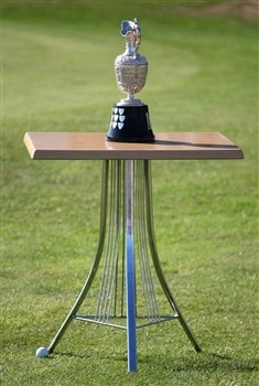 TROON, UNITED KINGDOM - JULY 27: The ball of Eduardo Romero comes to reat against the table holding the trophy during the final round round of the Senior Open Championships at Royal Troon on July 27, 2008 in Troon, Scotland.  (Photo by Ross Kinnaird/Getty Images)