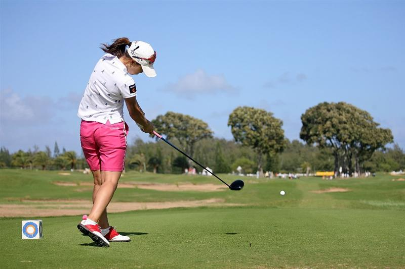 KAHUKU, HI - FEBRUARY 13:  Momoko Ueda of Japan hits her tee shot on the 9th hole during the second round of the SBS Open on February 13, 2009 at the Turtle Bay Resort in Kahuku, Hawaii.  (Photo by Andy Lyons/Getty Images)