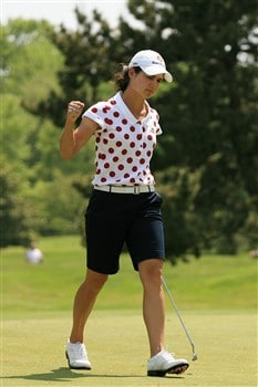 CLIFTON, NJ - MAY 17:  Lorena Ochoa of Mexico reacts to making a birdie on the 16th hole during the second round of the Sybase Classic presented by ShopRite on May 17, 2008 at the Upper Montclair Country Club in Clifton, New Jersey.  (Photo by Travis Lindquist/Getty Images)