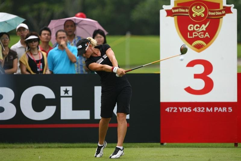HAIKOU, CHINA - OCTOBER 26: (CHINA OUT) Louise Friberg of Sweden hits her first shot on the 2nd hole during day three of the Grand China Air LPGA 2008 on October 26, 2008 in Haikou of Hainan Province, China. (Photo by China Photos/Getty Images)