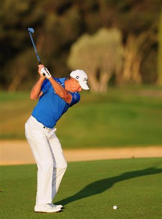 VILAMOURA, PORTUGAL - OCTOBER 16:  James Kingston of South Africa plays his approach shot on the 11th hole during the second round of the Portugal Masters at the Oceanico Victoria Golf Course on October 16, 2009 in Vilamoura, Portugal.  (Photo by Stuart Franklin/Getty Images)