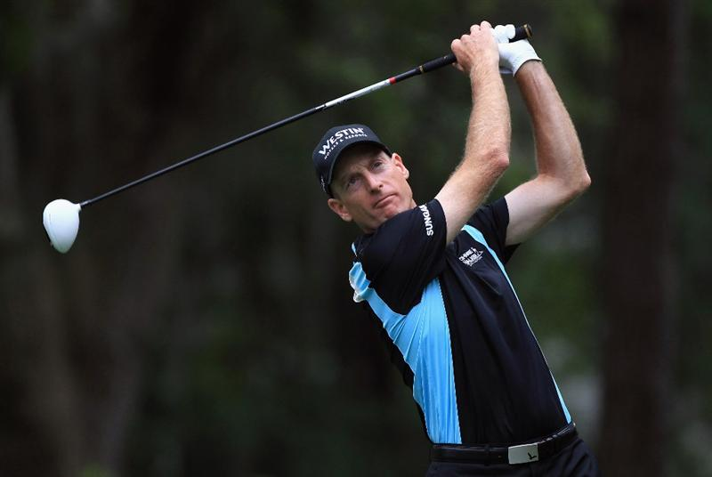HILTON HEAD ISLAND, SC - APRIL 22:  Jim Furyk watches his tee shot on the 8th hole during the second round of The Heritage at Harbour Town Golf Links on April 22, 2011 in Hilton Head Island, South Carolina.  (Photo by Streeter Lecka/Getty Images)