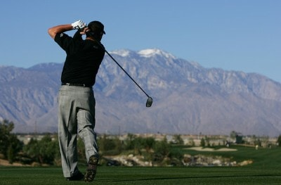 Robert Gamez makes a tee shot on the third hole during the fourth round of the 49th Bob Hope Chrysler Classic on January 19, 2008 at the Classic Club in Palm Desert, California. PGA TOUR - 2008 Bob Hope Chrysler Classic - Round FourPhoto by Robert Laberge/Getty Images