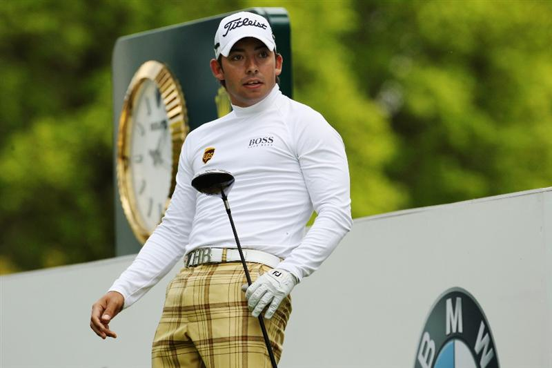 VIRGINIA WATER, ENGLAND - MAY 19:  Pablo Larrazabal of Spain plays a tee shot during the Pro-Am round prior to the BMW PGA Championship on the West Course at Wentworth on May 19, 2010 in Virginia Water, England.  (Photo by Ian Walton/Getty Images)