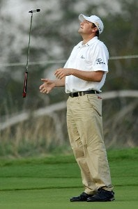 Steve Marino flips his putter after just missing a birdie try on the eighth green during the second round of the Wyndham Championship at Forest Oaks Country Club on August 17, 2007 in Greensboro, North Carolina. PGA TOUR - 2007 Wyndham Championship - Second RoundPhoto by Jonathan Ernst/WireImage.com