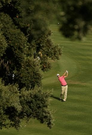 SOTOGRANDE, SPAIN - OCTOBER 29:  Martin Kaymer of Germany plays into the 14th green during the second round of the Andalucia Valderrama Masters at Club de Golf Valderrama on October 29, 2010 in Sotogrande, Spain.  (Photo by Richard Heathcote/Getty Images)