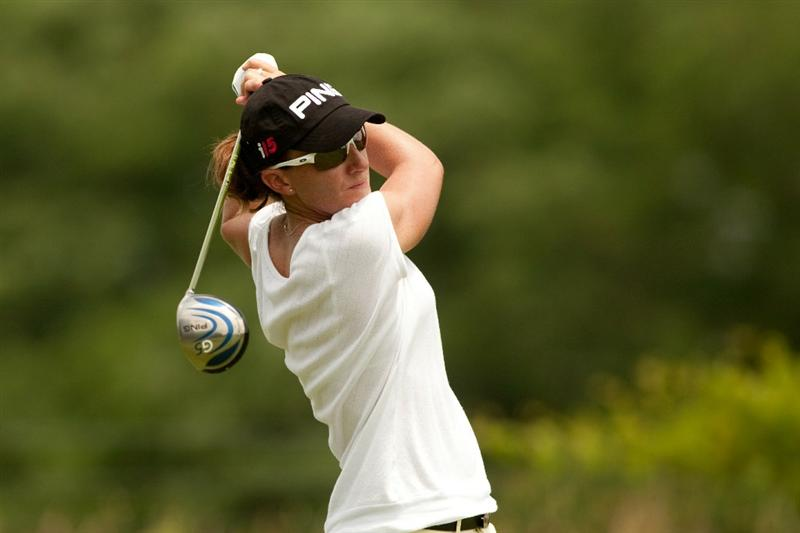 SPRINGFIELD, IL - JUNE 12: Gwladys Nocera of France follows through on a tee shot during the third round of the LPGA State Farm Classic at Panther Creek Country Club on June 12, 2010 in Springfield, Illinois. (Photo by Darren Carroll/Getty Images)