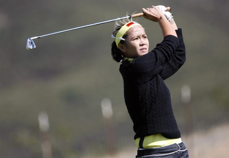DANVILLE, CA - OCTOBER 10: Jennifer Rosales of the Philippines makes a tee shot on the 16th hole during the second round of the LPGA Longs Drugs Challenge at the Blackhawk Country Club October 10, 2008 in Danville, California. (Photo by Max Morse/Getty Images)