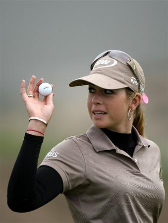 HALF MOON BAY, CA - OCTOBER 04:  Paula Creamer waves to the crowd after making a birdie on the 16th hole during the third round of the Samsung World Championship at the Half Moon Bay Golf Links Ocean Course on October 4, 2008 in Half Moon Bay, California.  (Photo by Jonathan Ferrey/Getty Images)