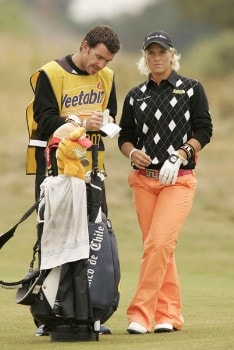 Nicole Perrot waits to play during the second round of the 2005 Weetabix Women's British Open at the Royal Birkdale Golf Club in Southport, Great Britain on July 29, 2005.Photo by Pete Fontaine/WireImage.com