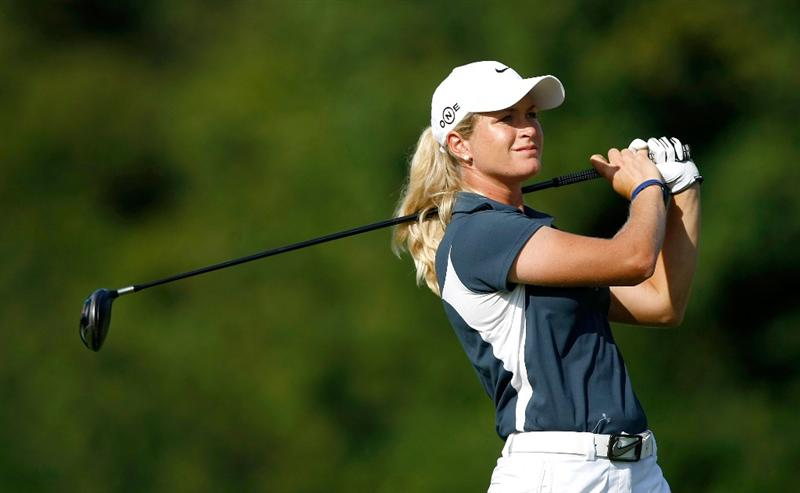 NORTH PLAINS, OR - AUGUST 29: Suzann Pettersen tees off on the 18th hole during the second round of the Safeway Classic on August 29, 2009 on the Ghost Creek course at Pumpkin Ridge in North Plains, Oregon. (Photo by Jonathan Ferrey/Getty Images)