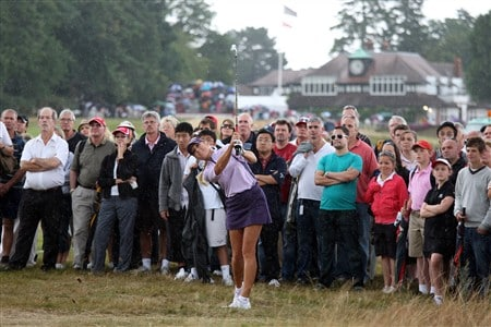 SUNNINGDALE, UNITED KINGDOM - AUGUST 02:  Natalie Gulbis of the USA plays her third shot at the 1st hole during the third round of the 2008  Ricoh Women's British Open Championship held on the Old Course at Sunningdale Golf Club, on August 2, 2008 in Sunningdale, England.  (Photo by David Cannon/Getty Images)