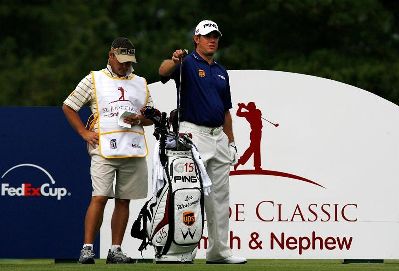 MEMPHIS, TN - JUNE 10: Lee Westwood of England prepares to tee off on the 14th tee during the first round of the St. Jude Classic at TPC Southwind held on June 10, 2010 in Memphis, Tennessee. (Photo by John Sommers II/Getty Images)