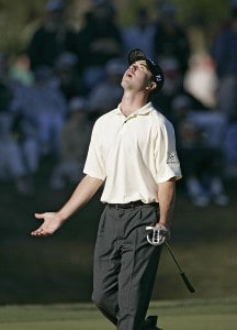 Arron Oberholser react to a missed birdie on 17 during the third round of THE PLAYERS Championship held at the TPC Stadium Course in Ponte Vedra Beach, Florida on March 25, 2006.Photo by Stan Badz/PGA TOUR/WireImage.com