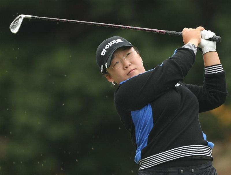 SHIMA, JAPAN - NOVEMBER 08:  Shin Ji-Yai of South Korea makes a tee shot on the 14th hole during the second round of 2008 Mizuno Classic at Kintetsu Kashikojima Country Club on November 8, 2008 in Shima, Mie, Japan.  (Photo by Koichi Kamoshida/Getty Images)