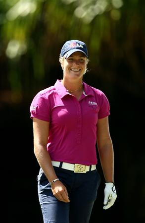 KAPALUA, HI - OCTOBER 17: Suzann Pettersen of Norway smiles on the sixth hole during the second round of the Kapalua LPGA Classic on October 17, 2008 at the Bay Course in Kapalua, Maui, Hawaii.  (Photo by Donald Miralle/Getty Images)