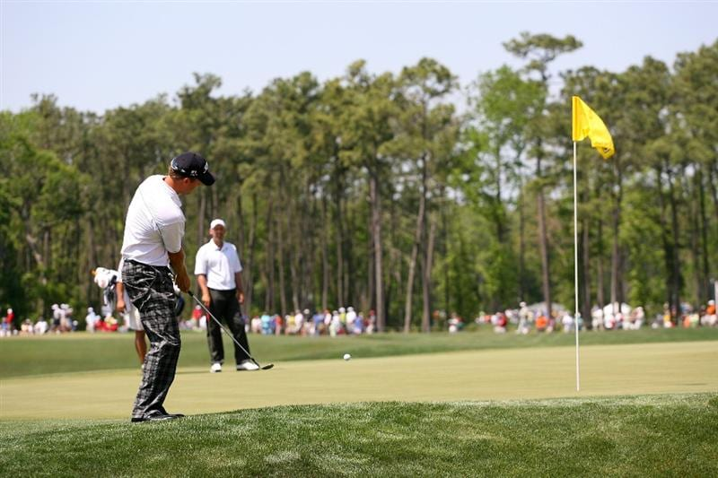 HUMBLE, TX - APRIL 3: Bryce Molder hits his third shot on the sixth hole during the third round of the Shell Houston Open at Redstone Golf Club on April 3, 2010 in Humble, Texas. (Photo by Hunter Martin/Getty Images)