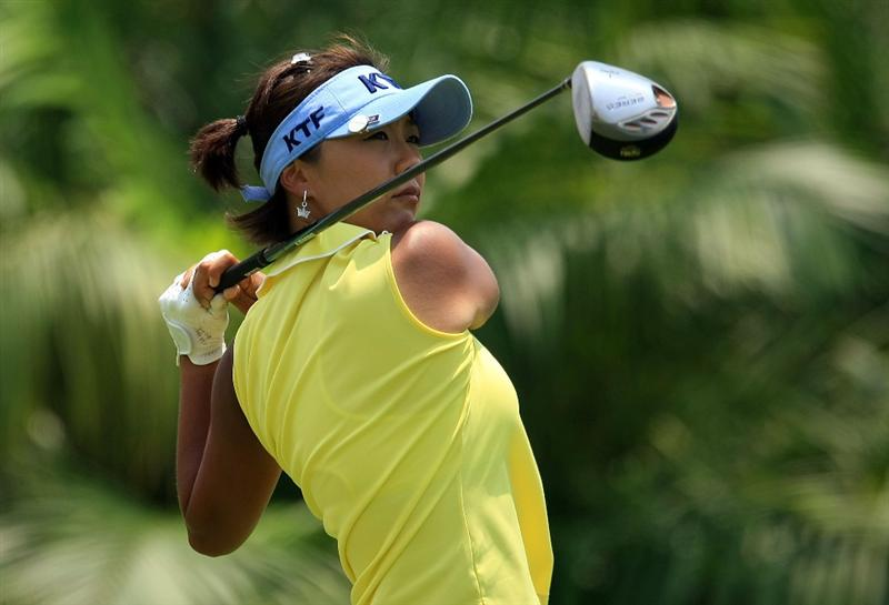 SINGAPORE - MARCH 08:  Mi Hyun Kim of South Korea hits her tee shot on the ninth hole during the final round of the HSBC Women's Champions at the Tanah Merah Country Club on March 8, 2009 in Singapore  (Photo by Scott Halleran/Getty Images)