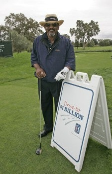 Jim Thorpe poses with the persimmon driver used to promote the 'Drive To A Billion' campaign Wednesday October 26, during the 2005 Schwab Cup Championship at Sonoma Golf Club - Sonoma, California.Photo by Chris Condon/PGA TOUR/WireImage.com