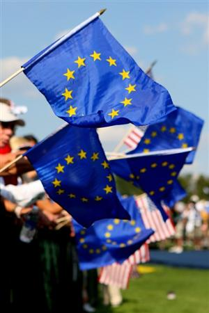 LOUISVILLE, KY - SEPTEMBER 18:   Team Europe supporters wave flags during the opening ceremony for the 2008 Ryder Cup at Valhalla Golf Club on September 18, 2008 in Louisville, Kentucky.  (Photo by Andrew Redington/Getty Images)