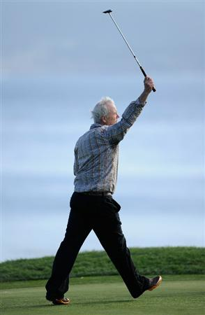 PEBBLE BEACH, CA - FEBRUARY 13:  Actor Bill Murray celebrates on the 18th hole during the final round of the AT&T Pebble Beach National Pro-Am at Pebble Beach Golf Links on February 13, 2011  in Pebble Beach, California.  (Photo by Stuart Franklin/Getty Images)
