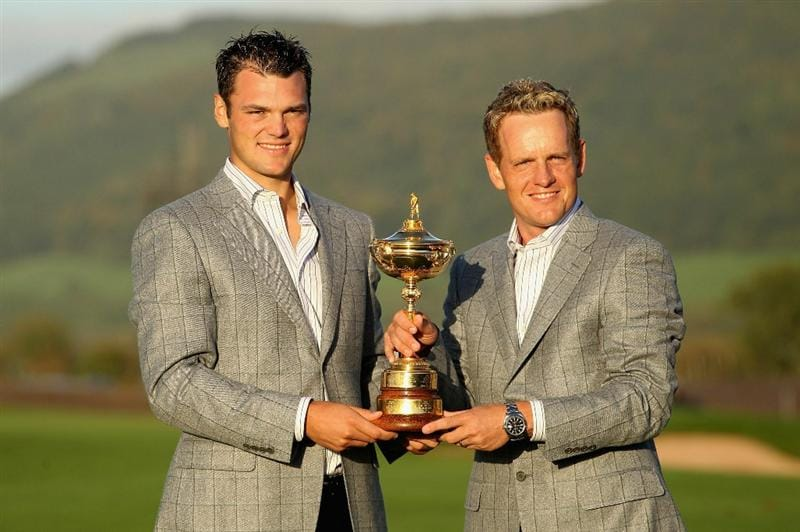 NEWPORT, WALES - OCTOBER 04:  (L-R) European Team members Martin Kaymer and Luke Donald pose with the Ryder Cup following Europe's 14.5 to 13.5 victory over the USA at the 2010 Ryder Cup at the Celtic Manor Resort on October 4, 2010 in Newport, Wales.  (Photo by Andy Lyons/Getty Images)