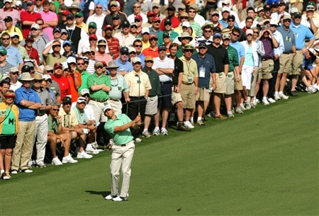 AUGUSTA, GA - APRIL 11:  Sergio Garcia of Spain hits an approach shot on the second hole during the second round of the 2008 Masters Tournament at Augusta National Golf Club on April 11, 2008 in Augusta, Georgia.  (Photo by Harry How/Getty Images)