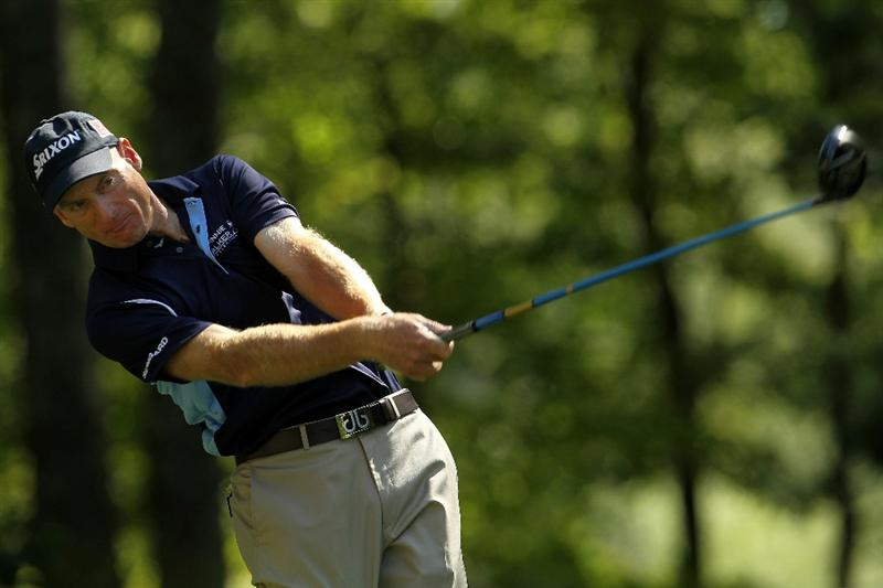 NORTON, MA - SEPTEMBER 04:  Jim Furyk hits a shot on the ninth tee during the second round of the Deutsche Bank Championship at TPC Boston on September 4, 2010 in Norton, Massachusetts.  (Photo by Mike Ehrmann/Getty Images)