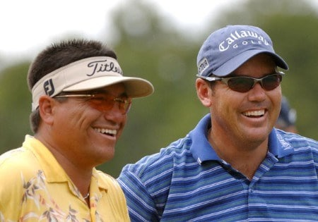 Robert Gamez and Rich Beem on the ninth tee during the second round of the 2005 Funai Classic at World Disney World Resort in Lake Buena Vista, Florida on October 21, 2005.Photo by Al Messerschmidt/WireImage.com