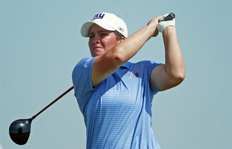 PRATTVILLE, AL - OCTOBER 1:  Meaghan Francella hits her drive on the ninth tee during first round play in the Navistar LPGA Classic at the Robert Trent Jones Golf Trail at Capitol Hill on October 1, 2009 in  Prattville, Alabama.  (Photo by Dave Martin/Getty Images)