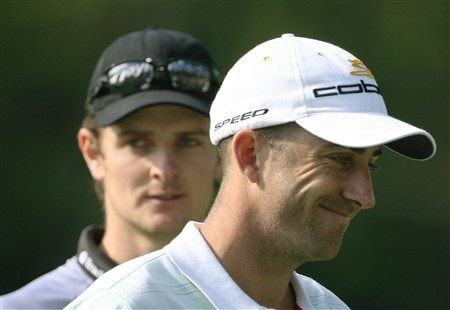 AUGUSTA, GA - APRIL 09:  Geoff Ogilvy of Australia and Justin Rose of England walk together during the third day of practice prior to the start of the 2008 Masters Tournament at Augusta National Golf Club on April 9, 2008 in Augusta, Georgia.  (Photo by Harry How/Getty Images)