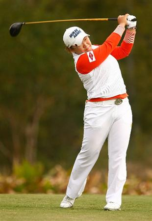 RICHMOND, TX - NOVEMBER 19:  Jiyai Shin of South Korea hits her tee shot on the 13th hole during the first round of the LPGA Tour Championship presented by Rolex at the Houstonian Golf and Country Club on November 19, 2009 in Richmond, Texas.  (Photo by Scott Halleran/Getty Images)