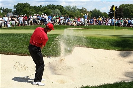 BLOOMFIELD HILLS, MI - AUGUST 09:  Retief Goosen of South Africa plays a shot from a bunker on the seventh hole during round three of the 90th PGA Championship at Oakland Hills Country Club on August 9, 2008 in Bloomfield Township, Michigan.  (Photo by Stuart Franklin/Getty Images)