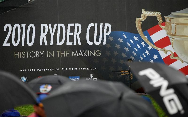 NEWPORT, WALES - SEPTEMBER 29:  General View as rain falls during a practice round prior to the 2010 Ryder Cup at the Celtic Manor Resort on September 29, 2010 in Newport, Wales. (Photo by Jamie Squire/Getty Images)
