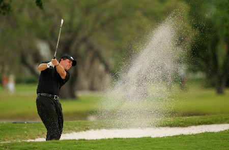 MIAMI - MARCH 22:  Phil Mickelson of the USA plays out of the fairway bunker on the sixth hole during the third round of the 2008 World Golf Championships CA Championship at the Doral Golf Resort & Spa, on March 22, 2008 in Miami, Florida.  (Photo by Warren Little/Getty Images)