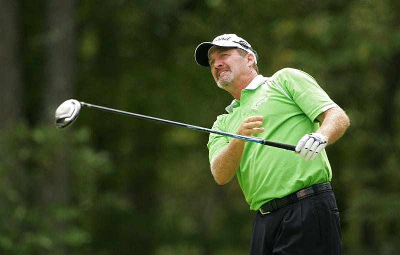 NORTON, MA - SEPTEMBER 07:  Jerry Kelly reacts to his errant drive on the second hole during the final round of the Deutsche Bank Championship at TPC Boston held on September 7, 2009 in Norton, Massachusetts.  (Photo by Michael Cohen/Getty Images)