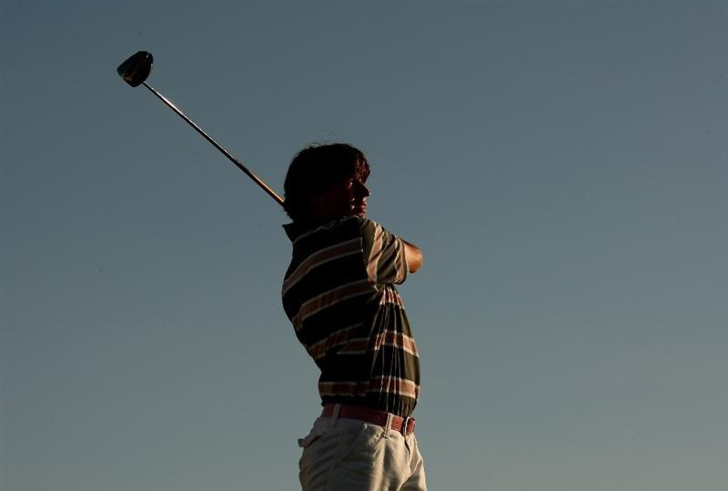 VILAMOURA, PORTUGAL - OCTOBER 16:  Robert-Jan Derksen of The Netherlands tees off at the 18th during the first round of the Portugal Masters at the Oceanico Victoria Golf Course on October 16, 2008 in Vilamoura, Portugal.  (Photo by Richard Heathcote/Getty Images)