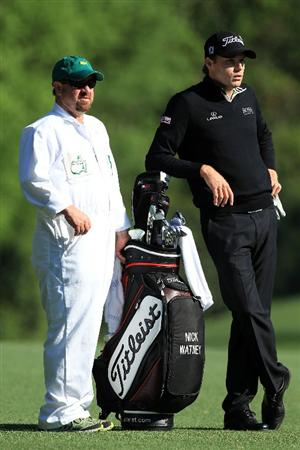 AUGUSTA, GA - APRIL 09:  Nick Watney (R) stands alongside his caddie Tim Goodell on the fifth fairway during the second round of the 2010 Masters Tournament at Augusta National Golf Club on April 9, 2010 in Augusta, Georgia.  (Photo by David Cannon/Getty Images)