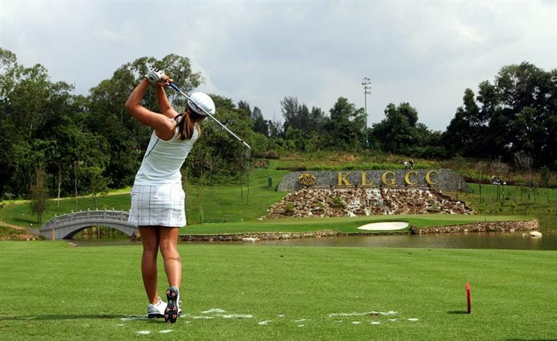 KUALA LUMPUR, MALAYSIA - OCTOBER 21:   Sandra Gal of Germany tees off on the 15th hole during the Sime Darby Pro-Am at the KLGCC Golf Course on October 21, 2010 in Kuala Lumpur, Malaysia (Photo by Stanley Chou/Getty Images)